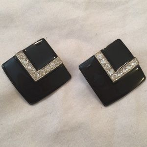 Vintage Pierced Earrings Black Square Gems